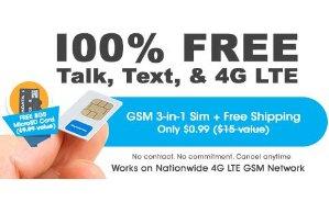 $0.99!FreedomPop 3-In-1 4G LTE SIM Kit: Unlimited Talk & Text + 2GB Data Trial + 8GB MicroSD
