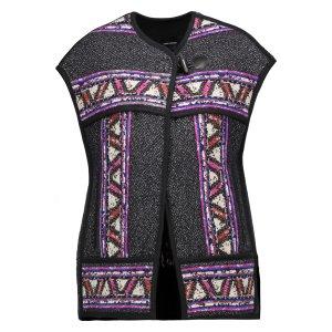 Diva oversized wool-blend jacquard vest