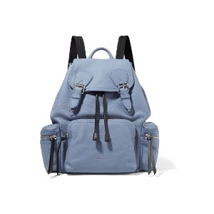 Medium chain-trimmed textured-leather backpack