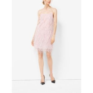 Ostrich Feather-Embroidered Chantilly Lace Slip Dress