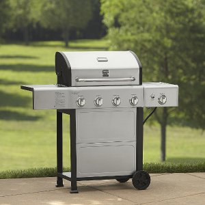 Kenmore 4-Burner Gas Grill with Side Burner and Stainless Steel Lid