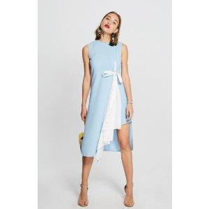 Self Side Tie Midi Cut Dress