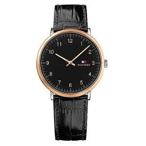 SLIM SPORT WATCH WITH CROC-EMBOSSED BLACK LEATHER STRAP 			 			1791339
