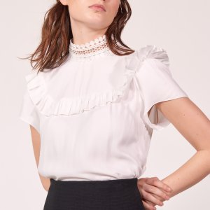 High Collar Lace Top - Tops & Shirts - Sandro-paris.com