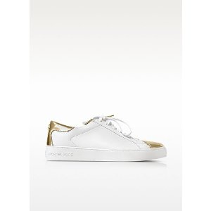 Michael Kors Optic White and Laminated Gold Leather Frankie Sneaker 6M US at FORZIERI