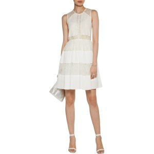 Rosaria pleated lace and crepe de chine mini dress | Sandro | US | THE OUTNET