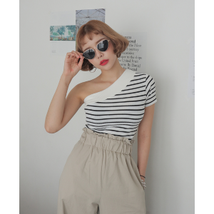 Slim One-Shoulder Striped TopRush of orders would make your delivery time little bit longer. The earlier the order the faster for you to get a product. Thank you!! | STYLENANDA