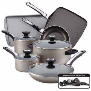 Farberware 17-pc. Aluminum Cookware Set 21925,Copper