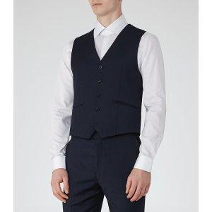 Monarch W Bright Blue Modern-Fit Waistcoat - REISS