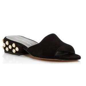 Stuart Weitzman Sliderpearl Suede Slide Sandals