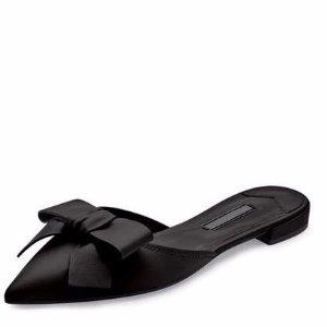 Prada Pointed-Toe Bow Slide Flat, Nero