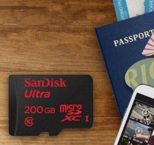 英亚直邮美国$68.37!直邮中国到手¥526元!今日特价!SanDisk Ultra 200 GB MicroSD 存储卡