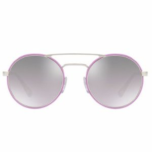 Prada Mirrored Round Brow-Bar Sunglasses