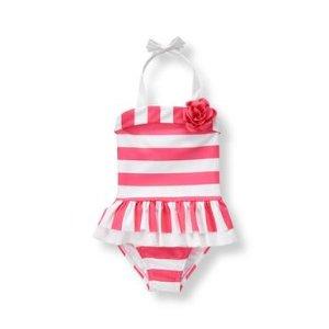 Baby Girl Watermelon Pink Stripe Striped Bloom Swimsuit at JanieandJack