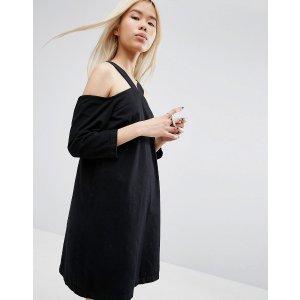 ASOS White | ASOS WHITE Cold Shoulder Denim Dress