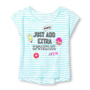 Girls Short Sleeve Sequin Graphic Striped Top   The Children's Place