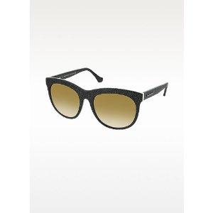 Balenciaga black/brown BA0024 04F Black Rubber & Acetate Cat Eye Sunglasses at FORZIERI