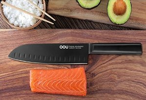 OOU Pro Kitchen 7 inch Chef's Knife High Carbon Black Stainless Steel Sharp Knives Ergonomic Equipment