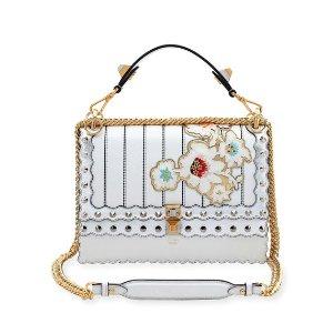 Fendi Kan I Mini Floral-Embroidered Chain Shoulder Bag