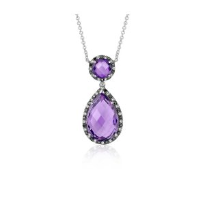 Robert Leser Amethyst and Diamond Halo Drop Necklace in 14k White Gold (15x10mm) | Blue Nile