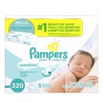 Pampers Baby Wipes Sensitive 5X Refill, 320 Count