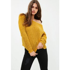 Missguided - Yellow Off Shoulder Chunky Sweater