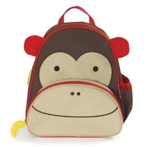 Skip Hop Zoo Little Kid Brown Monkey Backpack with Side Mesh Pocket - Toys