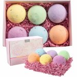 Anjou Bath Bombs Gift Set, 6 x 4.0 oz Vegan Natural Essential Oils & Dry Flowers