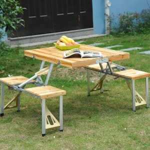 Wooden Picnic Table Bench Seat Outdoor Portable Folding Camping Aluminum w/ Case
