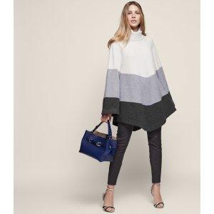 Ezmae Wool Blend Stripe Poncho - REISS