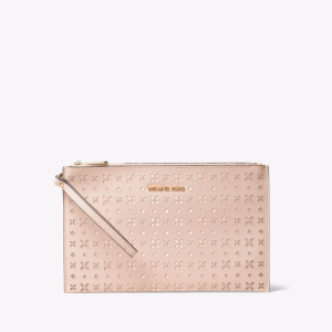 Jet Set Travel Extra-Large Perforated-Leather Clutch
