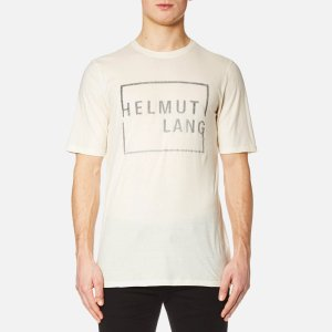 Helmut Lang Men's Square Logo T-Shirt - Cream - Free UK Delivery over £50