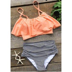 Flouncing Layered Bikini Set - Fairyseason