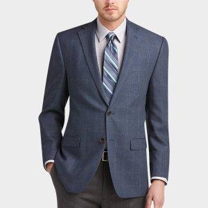 Lauren by Ralph Lauren Blue Windowpane Plaid Classic Fit Sport Coat - Men's Sport Coats | Men's Wearhouse