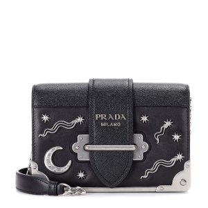 Embellished Leather Shoulder Bag - Prada