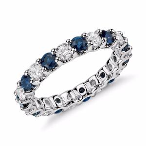 Luna Sapphire and Diamond Eternity Ring in Platinum (1 ct. tw.) | Blue Nile