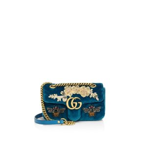 Gg Marmont Mini Embroidered Velvet Chain Shoulder Bag by Gucci