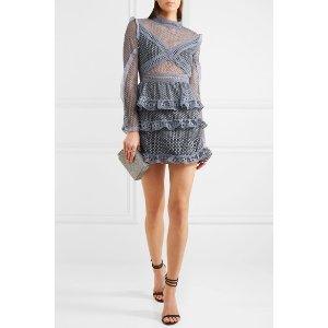 Self-Portrait   Ruffled organza-trimmed guipure lace mini dress  
