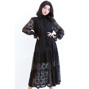 Vintage Lacy Bodycon Dress—Black