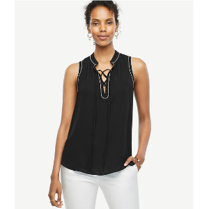 Tipped Lace Up Shell | Ann Taylor