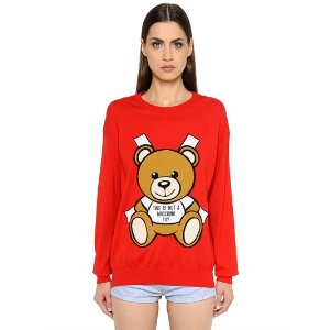 BEAR INTARSIA COTTON KNIT SWEATER