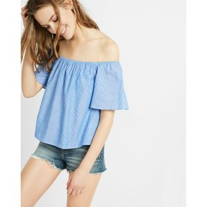 Blue Thin Stripe Off The Shoulder Top