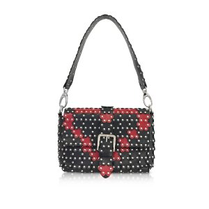 RED Valentino Black and Red Studded Shoulder Bag at FORZIERI