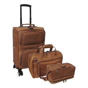 Amerileather Brown Textured Leather Spinner Three-Piece Luggage Set | zulily
