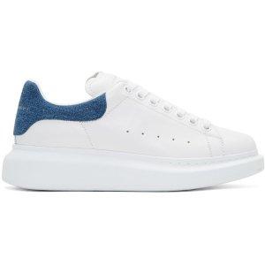 Alexander McQueen: White Denim Oversized Sneakers | SSENSE