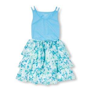 Girls Sleeveless Printed Ruffle Dress | The Children's Place