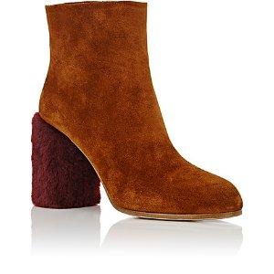 Miu Miu Fur-Heel Suede Ankle Boots | Barneys New York