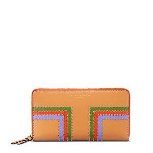 Tory Burch Block-t Stripe Multi-gusset Zip Continental Wallet