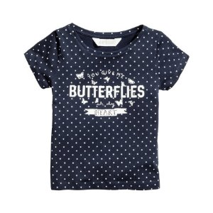 Top with Printed Design | Dark blue/dotted | Kids | H&M US