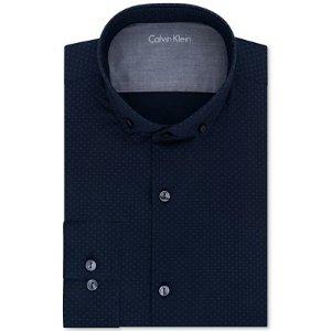 Calvin Klein X Men's Extra-Slim Fit Navy Print Dress Shirt - Dress Shirts - Men - Macy's